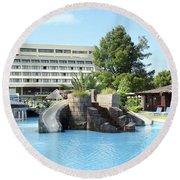 Resort With Swimming Pool Summer Vacation Scene Round Beach Towel