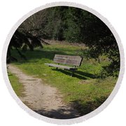 Rest Along The Path Round Beach Towel
