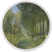 Rest Along The Stream - Edge Of The Wood Round Beach Towel