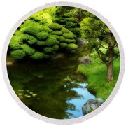 Rest By The Pond Round Beach Towel