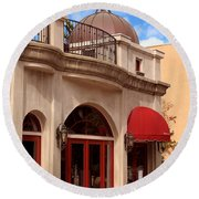 Restaurant In The Plaza Round Beach Towel