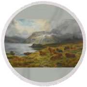 Resting By A Loch Round Beach Towel