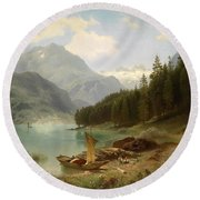 Resting By The Mountain Lake Round Beach Towel