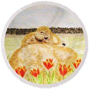 Resting In The Tulips Round Beach Towel