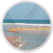 Resting Seagulls On A Sandbar Round Beach Towel