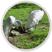 Resting Wood Stork And White Egret Round Beach Towel