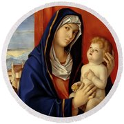 Restored Old Master Madonna And Child  Round Beach Towel