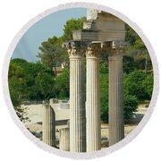 Restored Roman Columns In Glanum Round Beach Towel