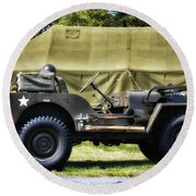 Restored Willys Jeep And Tent At Fort Miles Round Beach Towel