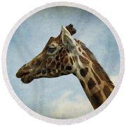 Reticulated Giraffe Head Round Beach Towel