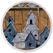 Retired Bird Houses By Prankearts Fine Arts Round Beach Towel