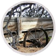 Retired Farm Wagon Round Beach Towel
