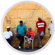 Retired Men And Yellow Wall Cartegena Round Beach Towel