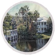Retirement On The River 01 Textured Round Beach Towel
