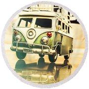 Retro 60s Toy Van Round Beach Towel