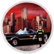 Retro Bat Woman Round Beach Towel