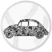 Retro Beetle Car 2 Round Beach Towel