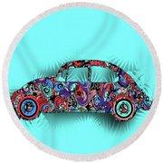 Retro Beetle Car 5 Round Beach Towel