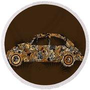 Retro Beetle Car 6 Round Beach Towel