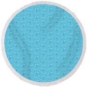 Retro Blue Pattern Round Beach Towel