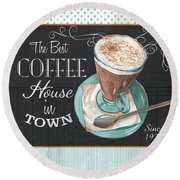 Retro Coffee 2 Round Beach Towel