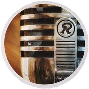 Retro Microphone Round Beach Towel
