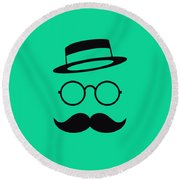 Retro Minimal Vintage Face With Moustache And Glasses Round Beach Towel
