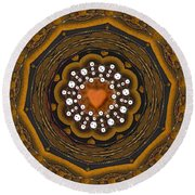 Retro Peace With Love And A Heart Of Gold Round Beach Towel