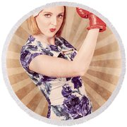Retro Pinup Boxing Girl Fist Pumping Glove Hand  Round Beach Towel