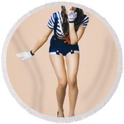 Retro Pinup Girl Blowing Travelling Departure Kiss Round Beach Towel