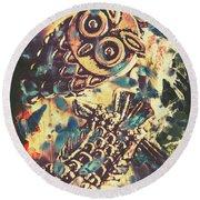 Retro Pop Art Owls Under Floating Feathers Round Beach Towel