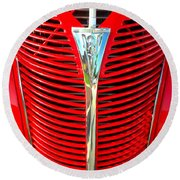 Retro Red Grille Round Beach Towel