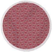 Retro Red Pattern Round Beach Towel