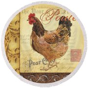 Retro Rooster 1 Round Beach Towel