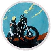 Retro Scrambler Motorbike Round Beach Towel