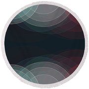 Retro Semi Circle Background Horizontal Round Beach Towel