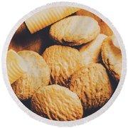 Retro Shortbread Biscuits In Old Kitchen Round Beach Towel