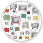 Retro T.v. Round Beach Towel