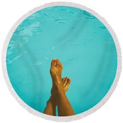 Retro Young Girl Relaxing Her Feet At Swimming Pool Round Beach Towel