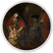 Return Of The Prodigal Son Round Beach Towel by Rembrandt Harmenszoon van Rijn