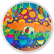 Return To Happy Frog Meadow Round Beach Towel