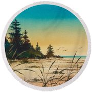 Return To The Shore Round Beach Towel