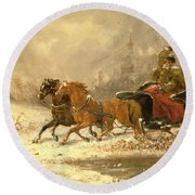Returning Home In Winter Round Beach Towel by Charles Ferdinand De La Roche