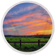 Retzer Nature Center - Summer Sunset Over Field And Fence Round Beach Towel