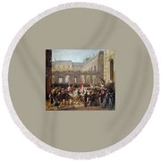 Revolution Of 1830 Departure Of King Louis-philippe For The Paris Townhall Horace Vernet Round Beach Towel