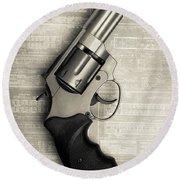 Revolver Pistol Gun Over Drawings Round Beach Towel