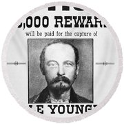 Reward Poster For Thomas Cole Younger Round Beach Towel