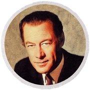 Rex Harrison, Vintage Actor Round Beach Towel