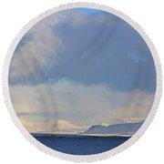 Reykjavik Bay, Blue Sea, Clouds , Shadows, Mountains,  Iceland 2 2102018 2262 Round Beach Towel