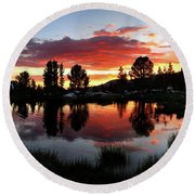 Reymann Lake Sunset - Yosemite Round Beach Towel